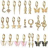 12 Pairs Gold Butterfly Earrings for Women Dangle - Butterfly Dangle Earrings for Women - Gold Hoop...