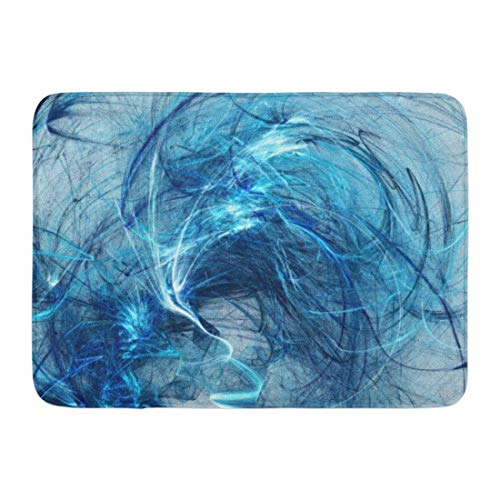 Tappetino da bagno scoppiato in viticcio nero colore astratto su bianco caos artistico blu Tappeto arredamento bagno