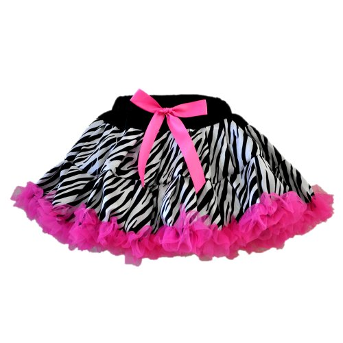 Zebra Print Tutu 2 Layers Hot Pink Tulle Skirt, Small