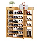 PYROJEWEL Bastidores del Zapato de la Nuez Classics 7-Tier Resina listón Utilidad Zapatero Ideal for la Sala de Estar Ahorro de Espacio Fácil Ensamble (Color: Nogal, tamaño: 85 * 24 * 113cm) Zapatero