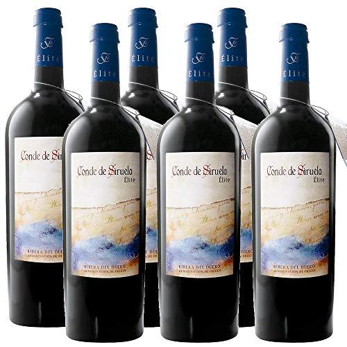 6 botellas vino tinto crianza Ribera del Duero. Conde de Siruela Élite. 14 meses de crianza