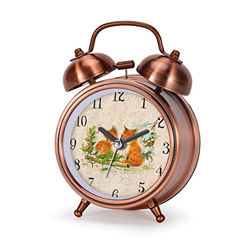 GIRLSIGHT Alarm Clock for Bedroom, Silent Non Ticking Double Twin Bell Child Alarm Clock Loud Home Alarm Clock with Vintage Painting of Cute Foxes Floral Pattern