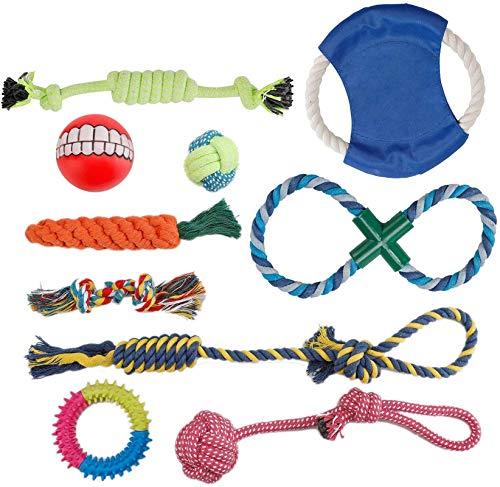 PETTOM Hundespielzeug, Interaktives Spielzeug Seil, Welpenspielzeug Welpen Kauen Spielzeug Hunde Zahnen Ausbildung, Natürlicher Baumwolle Kauspielzeug Set für Kleine Mittlere Hunde 10 stücke