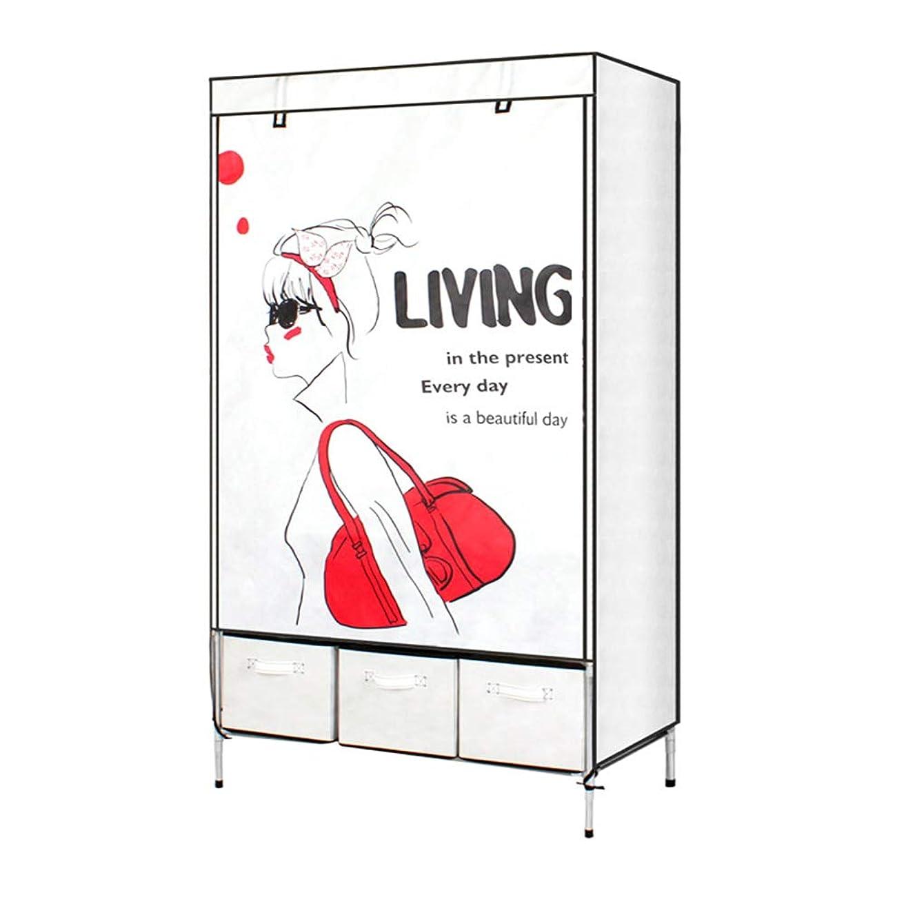 既婚胃バトルNiceAI 衣類 収納 ラック ワードローブ クローゼット 整理タンス スリム 防サビ加工 収納棚 収納ボックス3個付き 大容量 組立て式 (少女)
