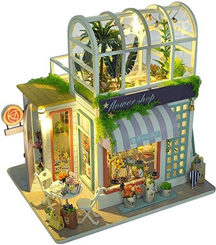 Juego de casa de muñecas en Miniatura de Madera DIY Modelo de casa de Hadas en Miniatura 3D con Cubierta Antipolvo Los Mejores Regalos de cumpleaños de Navidad para niños niñas