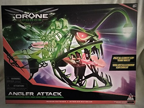 Angler Attack Drone Force Indoor/Outdoor Fly & Light Up The Sky! with Glowing Eyes Up to 150' Feet Flight Range with 2.4 GHZ Control! Sturdy and Lightweight Ages 8+ New in Unopened Box