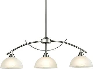 Dazhuan Modern Frosted Glass Shades Pendant Light Arched Alabaster Chandelier Kitchen Counter Island Hanging Ceiling Lighting, Brushed Nickel, 3-Light