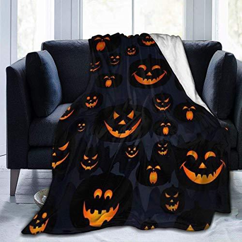 Hoswee Manta de Sofá y Cama, Halloween Pumpkin Lantern 2019 Super Soft Cozy Micro Plush Velvet Fleece Blanket Warm Fuzzy Couch Throw Blanket Luxury
