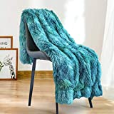 Lynnlov Soft Fuzzy Faux Fur Throw Blanket 50' x 60', Decorative Fluffy Plush Shaggy Fur Throw, Reversible Cozy Furry Blanket for Couch/Bed/Chair/Sofa as Gift(Teal - Multi Blue Green)