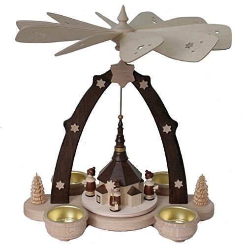 exclusiv-holzkunst Teelichtpyramide mit Seiffener Kirche