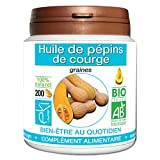 Huile de pépin de courge BIO | 200 capsules | Bien Être Quotidien - Masculin| 500 mg dosage 100% naturel sans additif et non comprimé | 100% VEGAN | EKI LIBRE