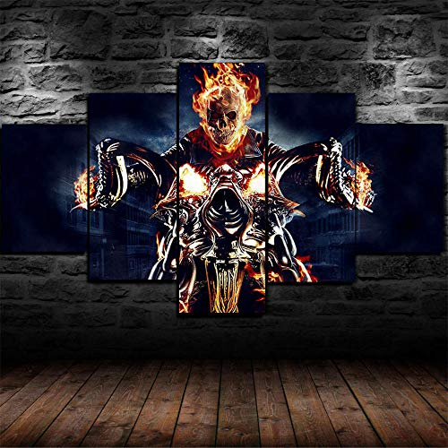 VYQDTNR - 5 Piece Canvas Wall Art Painting Ghost Rider Pictures Artwork Decor for Home Decoration Modern Art Stretched and Framed Ready to Hang