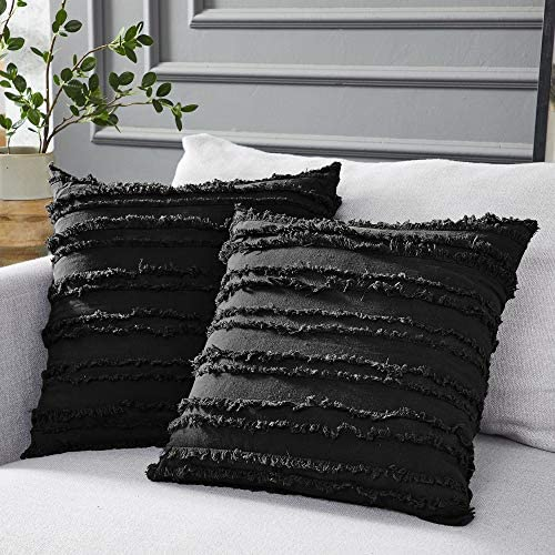 Longhui bedding Black Throw Pillow Covers for Couch Sofa Bed Cotton Linen Decorative Pillows product image