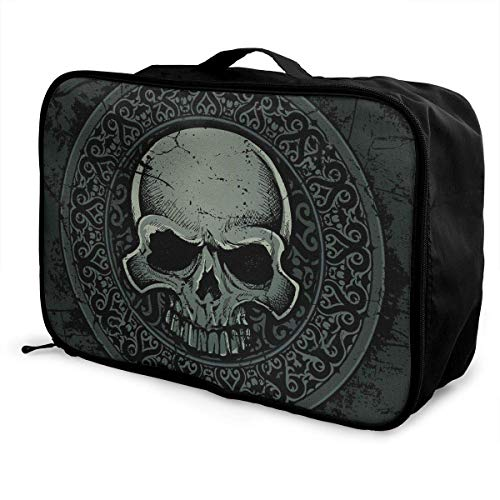 Bolsas de Maleta Ancient Gothic Celtic Stone Skull Medallion Travel Duffel Bag Large Capacity Portable Water Resistant Lightweight Travel Duffel Tote Bag with Trolley Sleeve Overnight Bag
