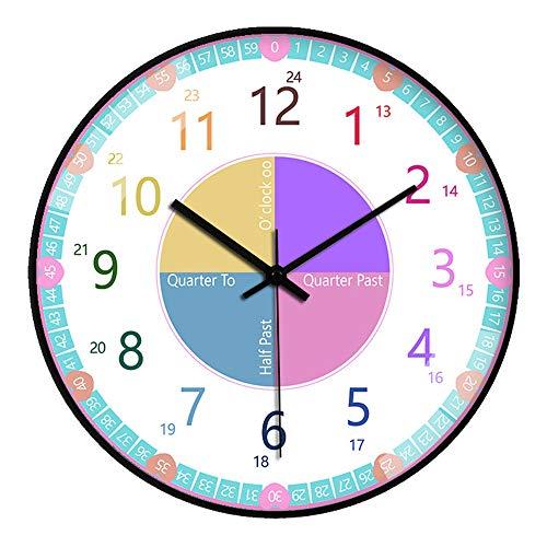 GGHKDD Reloj de pared de 30,5 cm con panel de cristal de 4 K para aula, dormitorio, sala de estar y guardería