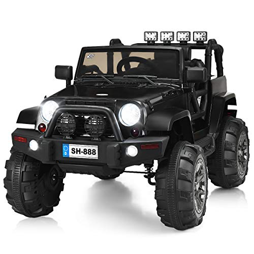COSTWAY Kids Ride on Car, 12V Battery Powered Electric Truck with LED Lights, Double Magnetic Doors, Safety Belt and Music, Four Wheel Ride on Toys for Boys Girls (Black)