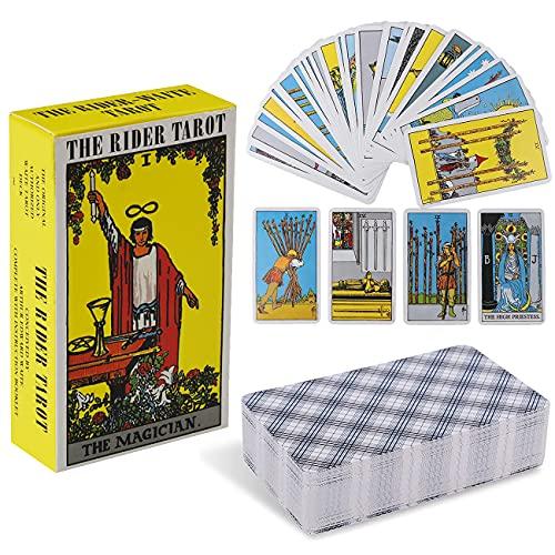 Tarot Cards Miotlsy 78 Tarot Deck Tarjetas Juego de Cartas con Caja para Principiantes Tarjetas de Juego de Adivinación del Destino,Juegos de mesa de fiesta familiar para principiantes