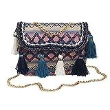 ALIKEEY Vintage Mujeres Tejiendo Borla Bolso De Hombro Messenger Bag...