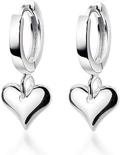 Full Love Heart Drop Dangle Sterling Silver Small Hoop Earrings for Women Teen Girls Cartilage Sleeper Huggie Hoops Cute J...