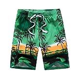 MODOQO Shorts Pants for Men-Fashion Hawaiian Style Big and Tall Quick Dry Elastic Waist Swimming Shorts(Green,CN-5XL/US-3XL)