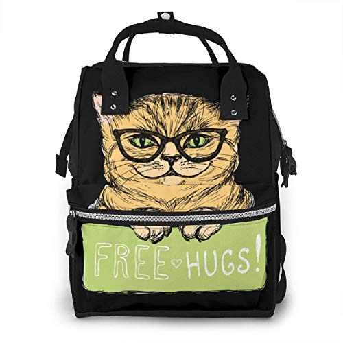 NHJYU Sac à langer, Large Capacity Waterproof Travel Ma-na-ger,baby Care Replacement Bag Versatile Stylish And Durable, Suitable For Mom And Dad,Cute Cat With A Sign Free Hugs