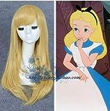 Alicia en el país de las maravillas Alice Yellow Golden Cosplay peluca recta larga y sintética fiesta de disfraces de Halloween fiesta pelucas + gorra de peluca Alicia en el país de las maravillas c