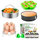 Cooking Accessories compatible with Instant Pot 6,8 Qt, 10-Piece Steamer Basket, Egg Bites Mold,7' Springfrom Pan,Egg Steamer Racks,Magnetic Cheat Sheets and Oven Mitts Bonus Recipes Ebook