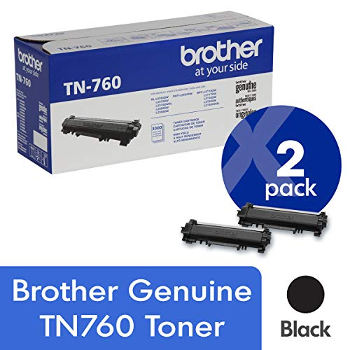 Brother Genuine TN760 2-Pack High Yield Black Toner Cartridge with Approximately 3,000 Page Yield/Cartridge
