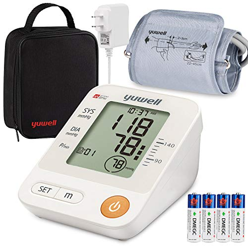 Blood Pressure Monitor Upper Arm Cuff, Yuwell Accurate Automatic Bp Machine Meter with Cuff 8.7-17.7, Large LCD for Home Use Pulse Rate Monitoring - Device Bag, AC Adapter, 4AA Included