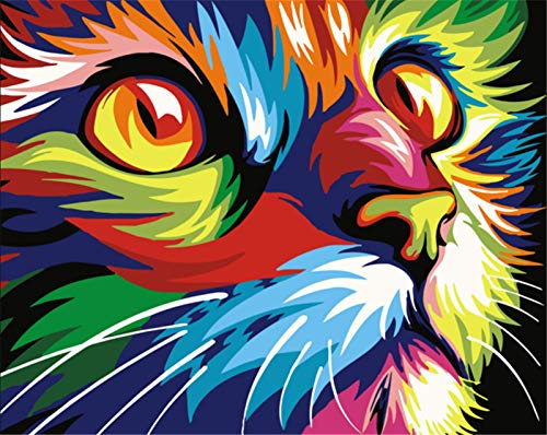 YEESAM ART Stationery Colorful Cat Head, Paint by Numbers 16x20 inch DIY Painting Kits for Home Wall Decor (Cat, Without Frame)