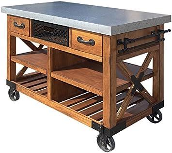 Amazon Com Acme Furniture Kailey Kitchen Cart Antique Oak Kitchen Islands Carts