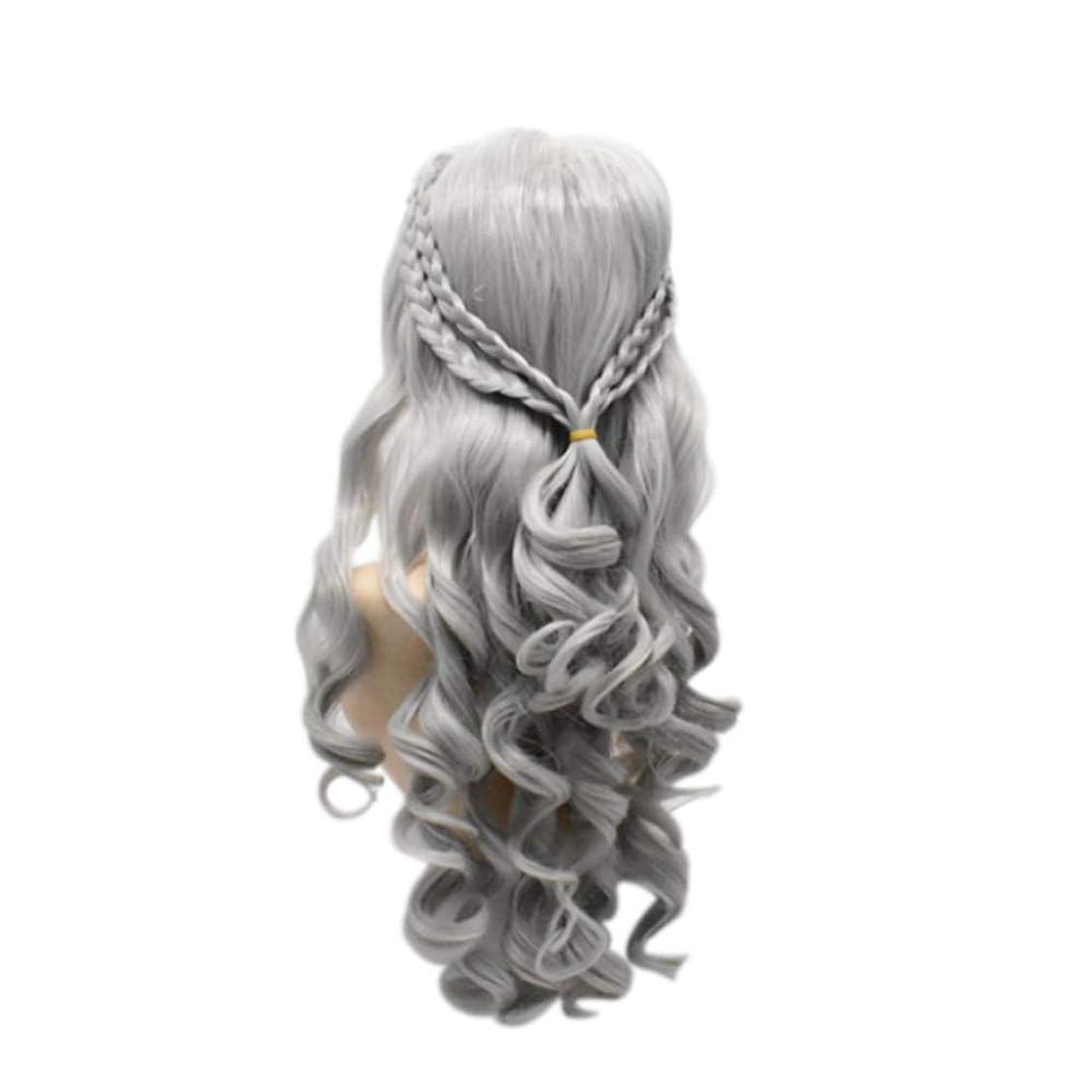 本質的ではないオーバーコート再生可能女性のための長い巻き毛のかつら気質顔ハイエンドのかつら自然に見える耐熱合成ファッションかつらコスプレ,Metallic