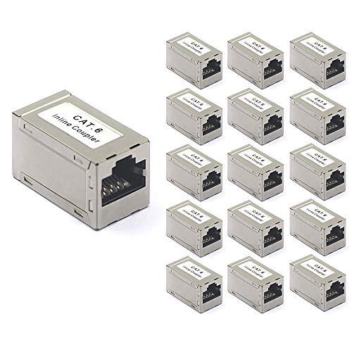 VCE Cat6 ethernetadapter, koppeling, patchkabel, RJ45-adapter, POE Cat6 LAN-connector, verlengkabel, RJ45-koppeling, 16 stuks
