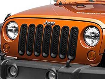RED ROCK 4x4 Honeycomb Grille Inserts in Black Styling Fits Jeep Wrangler JK 2007-2018