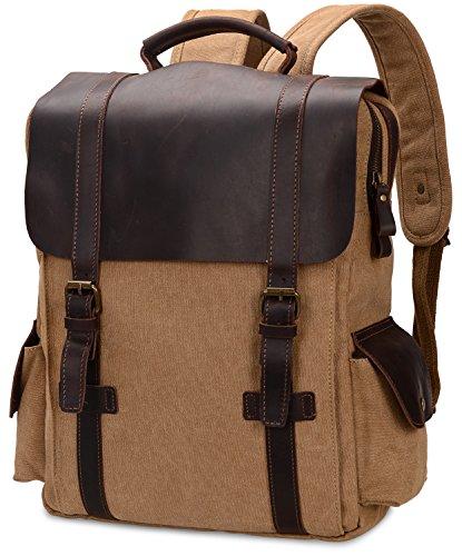 ALTOSY Canvas Backpack Men Genuine Leather Rucksack Vintage Laptop Backpacks Casual...