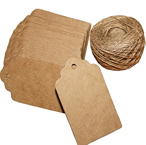 CyFe Lot de 100 /étiquettes cadeau de No/ël en papier Kraft avec 10 m de corde de chanvre Id/éal pour les loisirs cr/éatifs /à suspendre
