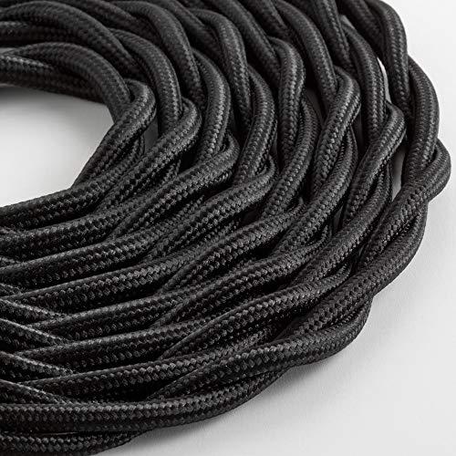 Klartext – Cable textil trenzado luminoso TV/LAN, negro, 5 m. Atención: cable...