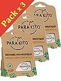 Paquete 3 x 2 de recambios Naturales para Pulsera y Clips antimosquitos de Parakito