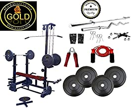 Gold Fitness 20 In 1 Bench+ 40 Kg Rubber Plates Home Gym Set+3 Ft Curl Rod+5 Ft Plain Rod +1 Pair Dumbbells Rod+All Gym Accessories