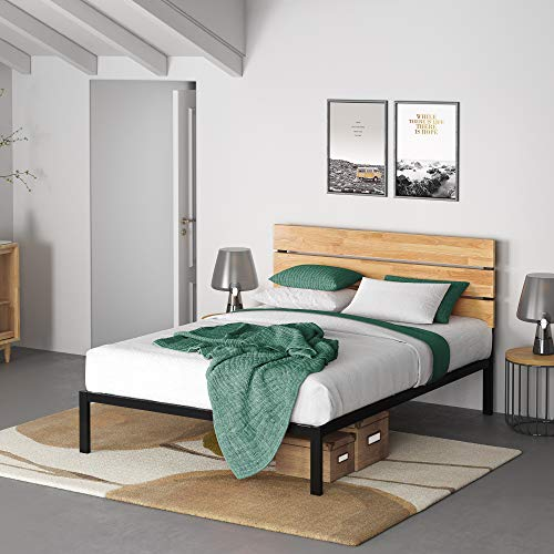 Zinus Paul Metal and Wood Platform Bed with Wood Slat Support