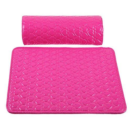 Everpert Juego de 2 almohadas de piel para decoración de uñas, cojín para reposabrazos, para manicura (rojo rosa)
