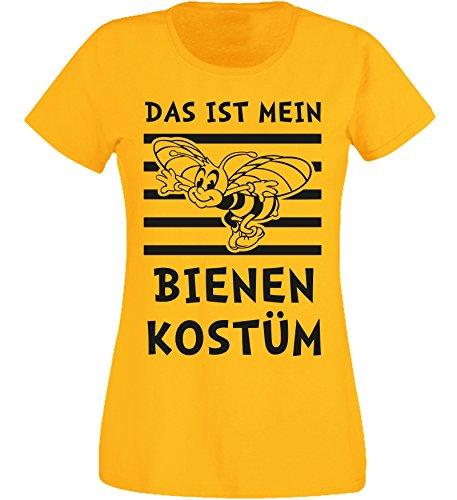 Aprom-Sports Camiseta para Mujer, Disfraz de Abeja para Carnaval, Disfraz de Abeja Entallado Amarillo M