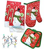Dublins Treasure Isle Kitchen Linen Set (Includes: one oven mitt, two pot holders, two dis...