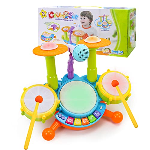 Musical Baby Toys for 3 2 1 Year Old Gifts, Early Education Toys for Toddler Boys Girls,Toddler Activity Toys Dancing, Singing, Electronic Drum Set with Adjustable Microphone Light and Lullabies Music