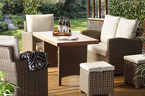 Desser Georgia Mink Rattan Outdoor Garden Patio Furniture Lounge Dining Set – Luxury Wicker Sofa, Chairs & Poly Fibre Table Suite