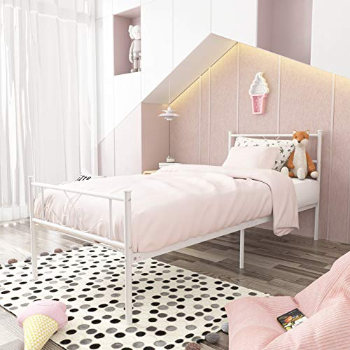 SimLife Single Bed Platform Kids Boys Adult No Box Spring Needed Princess White...