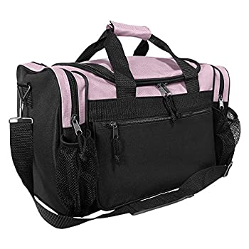 DALIX 17  Duffle Travel Bag with Front Mesh Pockets in Pink