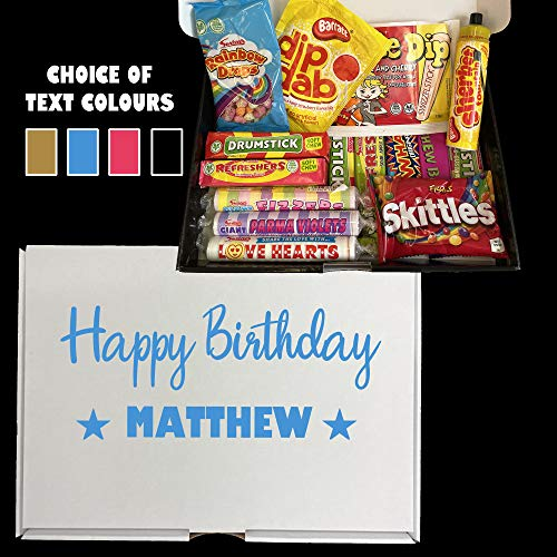Personalised Happy Birthday Sweet Hamper Gift Idea for Boyfriend Girlfriend Brother Sister Mum Dad Friend Sweets Present