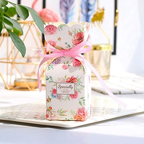 TGQETC Neue Weihnachtsgeschenkbox mit Band Hochzeit Gefälligkeiten Dekoration und Baby-Dusche Süßigkeitskästen für Mädchen Jungen Birthday Party Supplies 100 PCS Pink