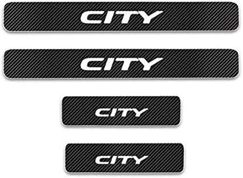 JZAMQ Anti-Kratz-Platte Für Autoschwelle Für Passend Für 4 Stück Externes Carbon-Faser-Leder-Auto Kick-Platten Pedal for City, Einstieg Willkommen Pedal-Tritt Scuff Threshold Bar Protect.
